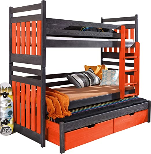 Litera Triple Samba Moderna Cama Nido Alta con cajones y Escalera de Madera de Pino para 3 niños, Graphite and Orange, Right-Hand Side: Amazon.es: Hogar