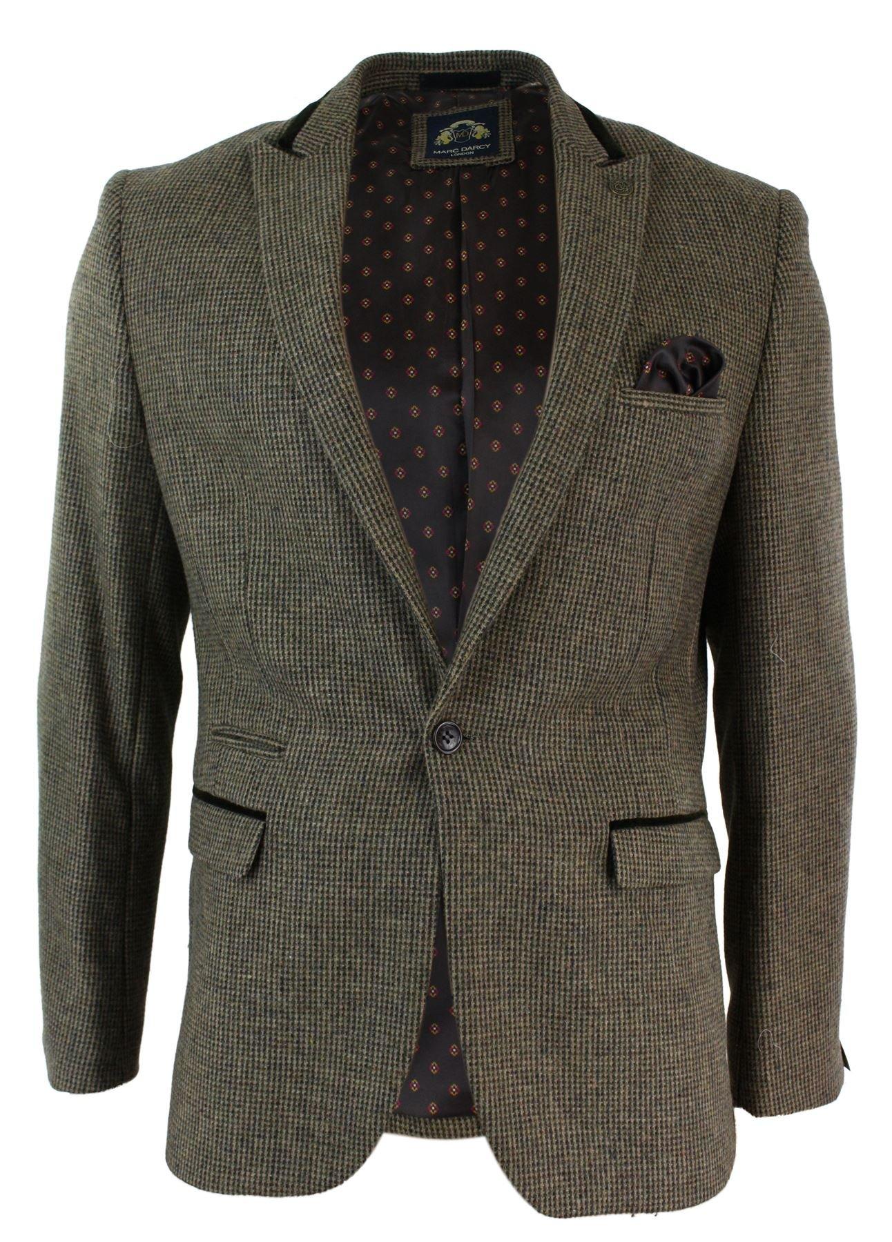 Marc Darcy Mens Retro Tan Brown Herringbone Tweed Slim Fit Vintage Blazer Jacket or Waistcoat tan 48