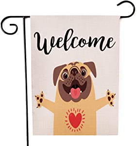 Yileqi Welcome Cute Dog Garden Flag Burlap Vertical Readable Double Sided Small Flag Yard Outdoor Decoration 12 x 18 Inches Welcome Garden Flag