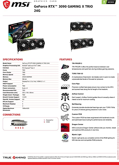 Msi Rtx Gaming X Trio 10g Graphics Card Computers Accessories