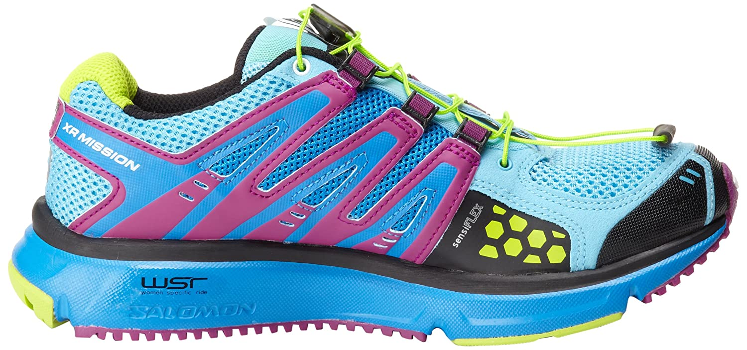 Salomon Women's XR Mission Running Shoe B006W21PXQ 8.5 B(M) US|Score Blue/Very Purple/Pop Green