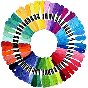 966d7a683bbcf Embroidery Floss Rainbow Color 50 Skeins Per Pack Cross Stitch Threads  Friendship Bracelets Floss Crafts Floss