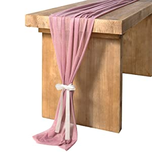 Ling's moment 10Ft Mauve Sheer Table Runner for Rustic Boho Wedding Party Bridal Shower Decorations