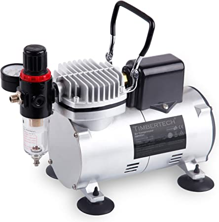 TIMBERTECH Upgraded Basic Airbrush Compressor ABPST07, Quiet Powerful 1/6hp Portable Air Compressor Airbrush Paint System with Motor Cool Dawn Fan for Airbrush Paint, Nails, Tattoo, Cake Painting