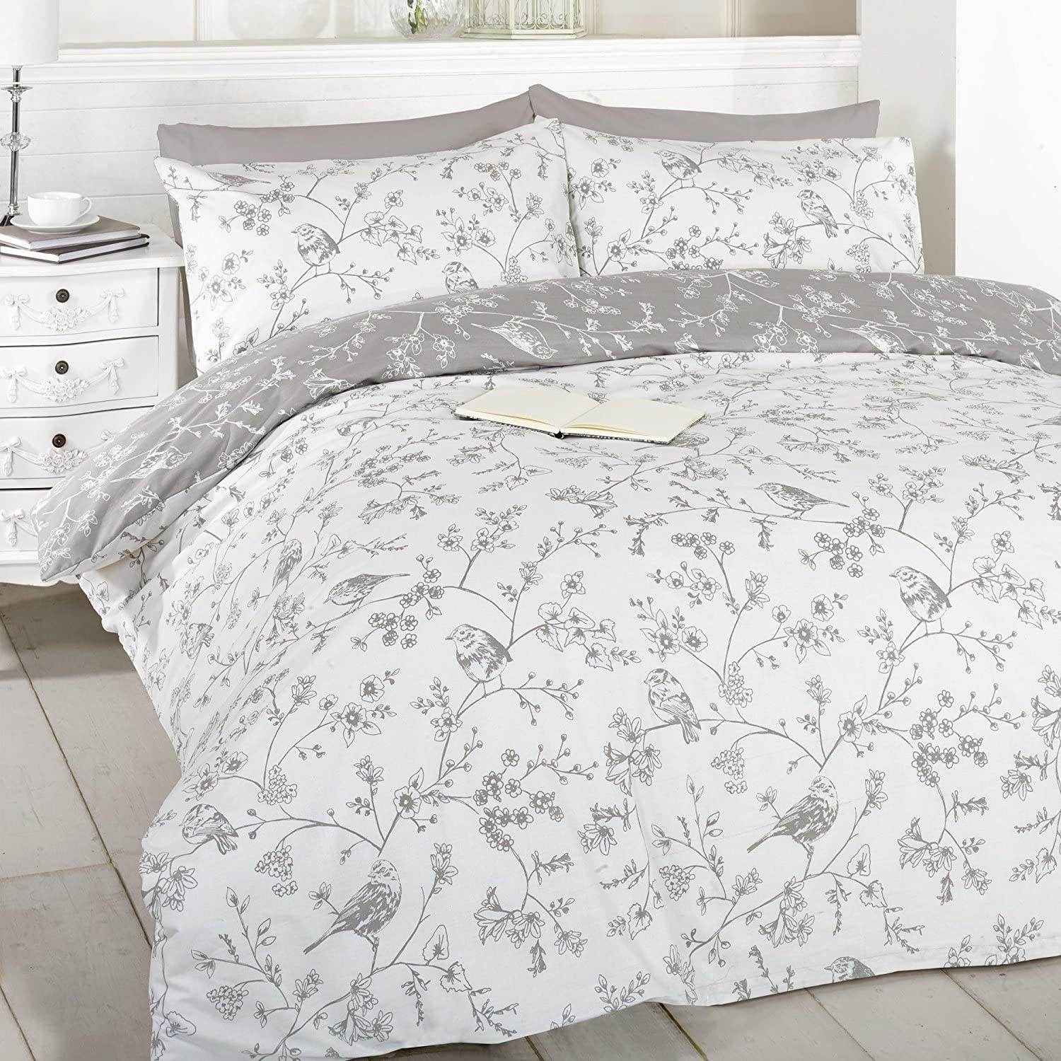 French Bird Toile Duvet Cover Set (Taupe, King) by Art