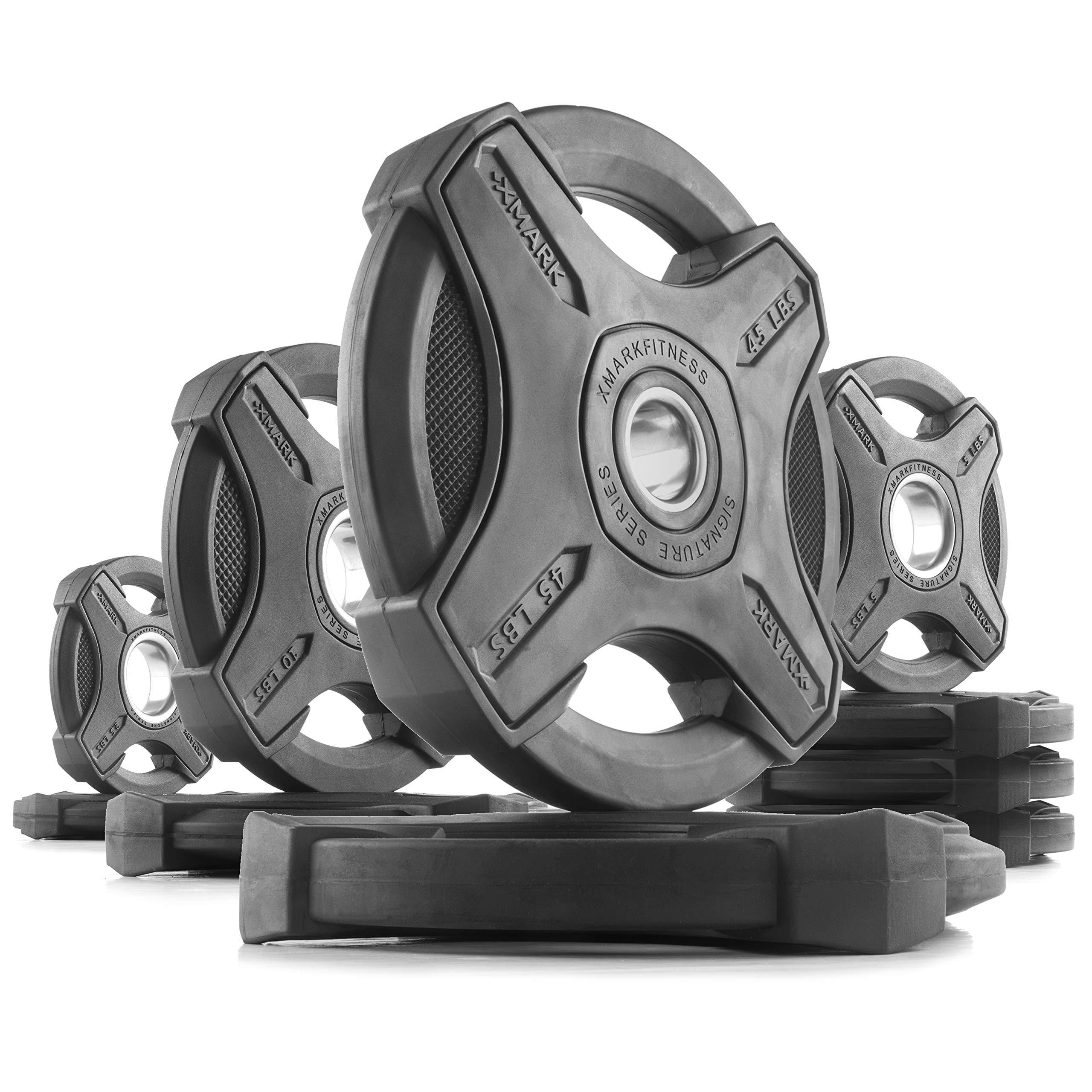 XMark 135 lb Set Signature Plates, One-Year Warranty, Olympic Weight Plates, Cutting-Edge Design
