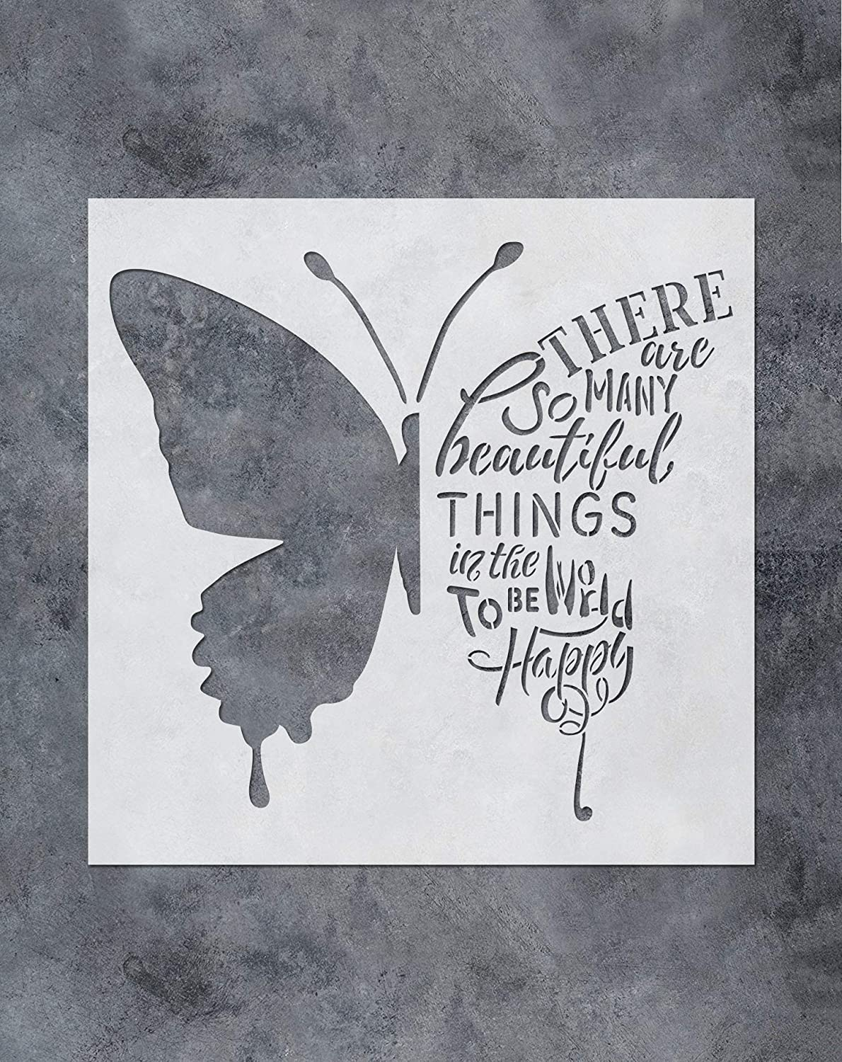Amazon Com Gss Designs Butterfly Stencil Reusable Diy Wall Art Painting Stencil 12x12inch Wording Words And Quote Ideas For Walls Floors Fabrics Wood Sl 084 Kitchen Dining