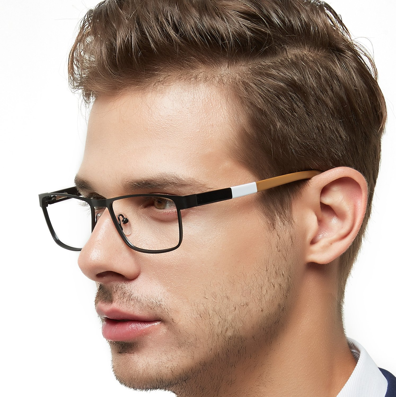 OCCI CHIARI Men Metal Optical Eyewear Frame With Clear Lenses Eyeglasses 52mm (Black/Dull Gold) by OCCI CHIARI