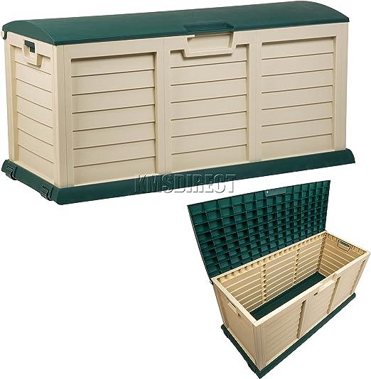 Outdoor Garden Storage Utility Chest Plastic Cushion Box Case 440L Sit-On Lid