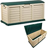 Starplast Outdoor Garden Plastic Storage Utility Chest Cushion Shed Box With Lid and Wheels Case Container Green and Beige New 390L Litre 00-811