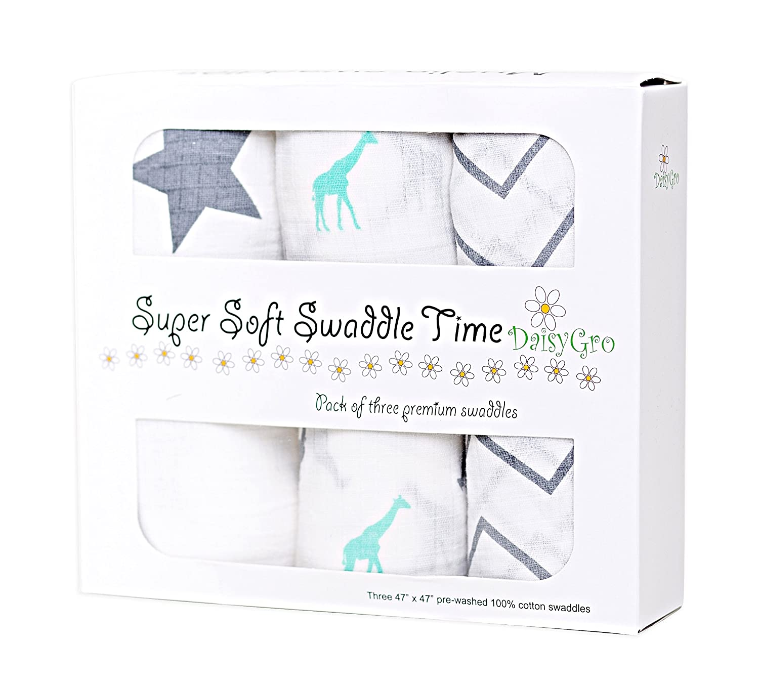 •NEW CANADA RELEASE!• DaisyGro™ Premium Muslin Swaddle Blankets | MULTI USE | Summer Blanket | Super Soft Cotton | Extra Large - Pack of 3 Unisex Designs | Lifetime Guarantee | Gift Boxed | Perfect Babyshower Gift