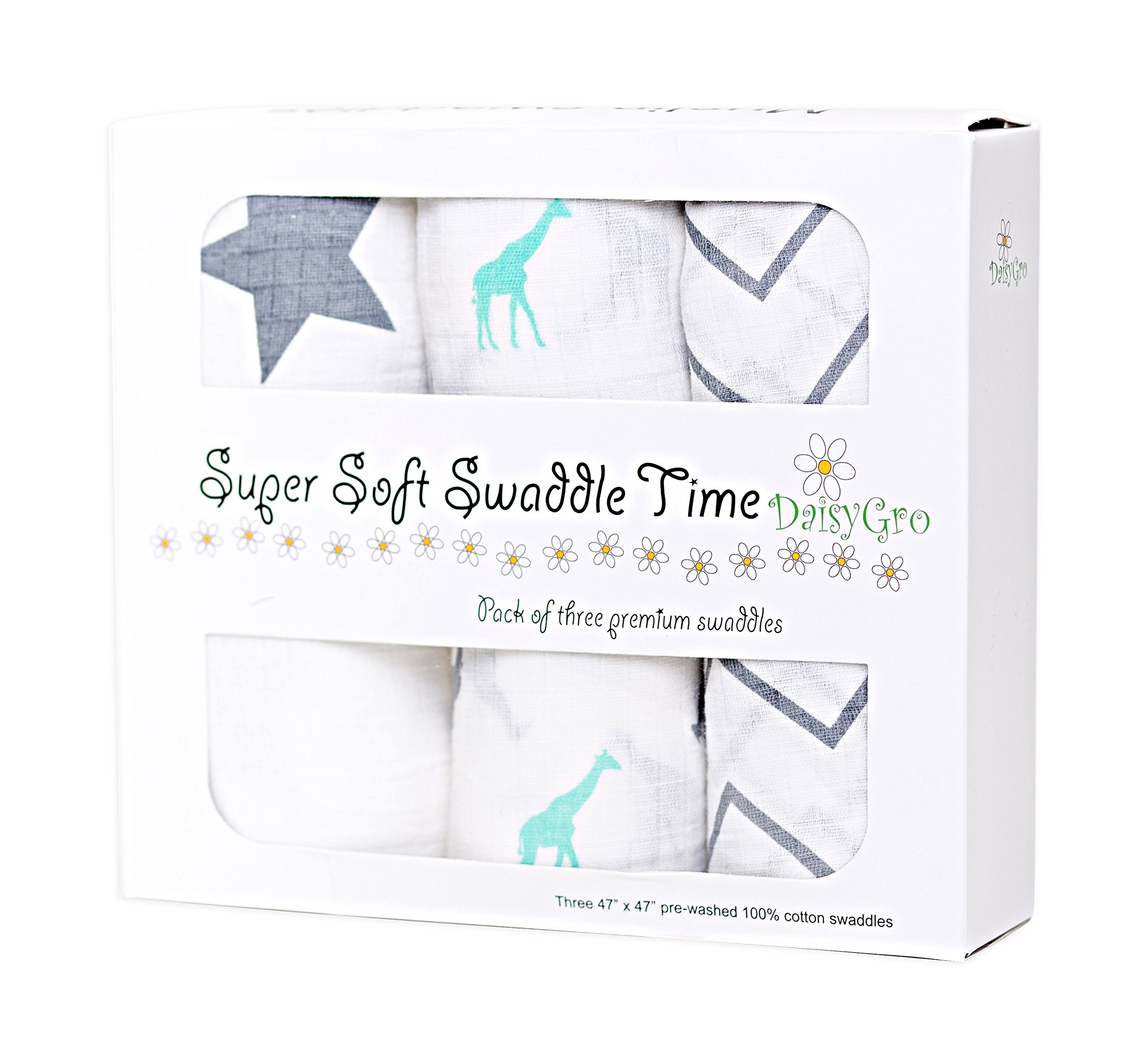 •NEW CANADA RELEASE!• DaisyGro™ Premium Muslin Swaddle Blankets | MULTI USE | Summer Blanket | Super Soft Cotton | Extra Large - Pack of 3 Unisex Designs | Lifetime Guarantee | Gift Boxed | Perfect Babyshower Gift product image