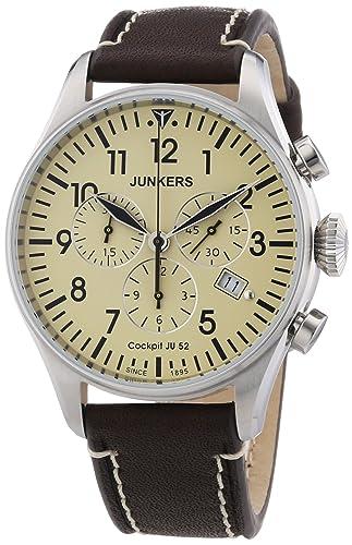 Junkers Reloj Cronógrafo de Cuarzo para Hombre con Correa de Piel - 61805: Amazon.es: Relojes