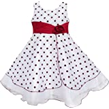 Sunny Fashion Girls Dress Wine Red Dot Tulle Party Pageant Unique Design Kids Clothing
