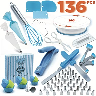 Cake Decorating Kit - Cake Decorating Supplies - Baking Supplies - Cake Turntable - Piping Bags -Russian Piping Tips Set - Piping Bags And Tips - Cupcake Decorating Kit - Cake Decorating Tools & More