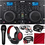 Gemini CDM Series CDM-4000 Professional Audio CD/MP3/USB DJ Media Player Console with Xpix Condenser Microphone, Samson Closed-Back Headphones, and Deluxe Bundle