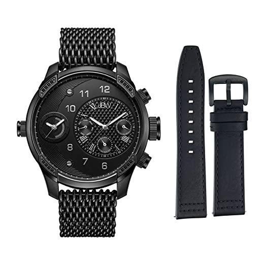 JBW Hombre j6355-setc G3 Mundo Viajero Conjunto 0.16 ctw Reloj de Diamantes de Acero Inoxidable con baño de Iones, Color Negro: Amazon.es: Relojes