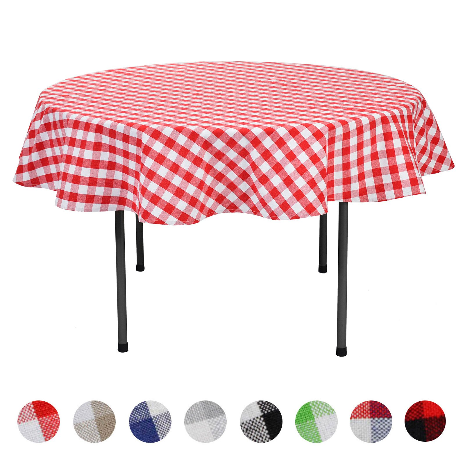 VEEYOO Plaid Check Tablecloth Gingham 100% Cotton for Home Kitchen Party Indoor or Outdoor Use 70 inch Round (Seats 4 to 6 People), Red & White