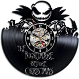 The Nightmare Before Christmas Movie Love Story Vinyl Record Wall Clock - Decorate your home with Modern Large Jack and Sally Disney Art - Best gift for Him and Her - Win a prize for feedback