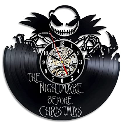 the nightmare before christmas movie love story vinyl record wall clock decorate your home with