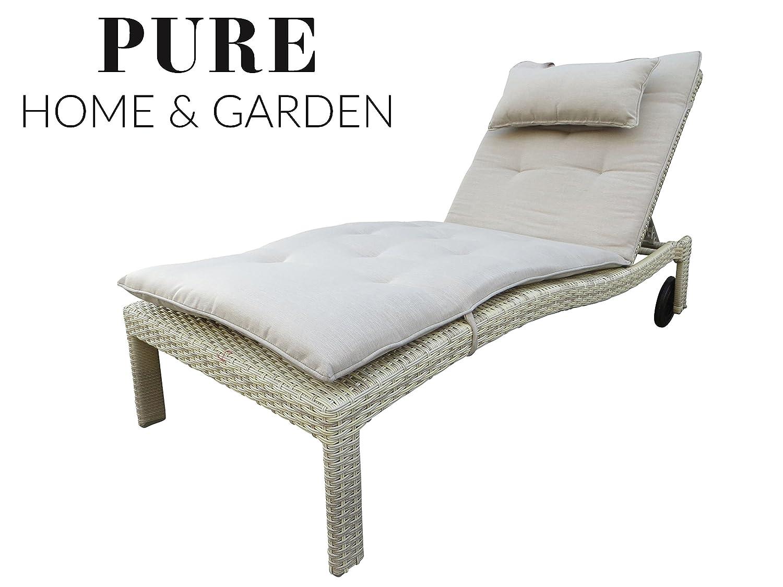 XXL Polyrattan Rollliege Cima natur inkl. 8 cm Auflage mit Kopfkissen von Pure Home & Garden