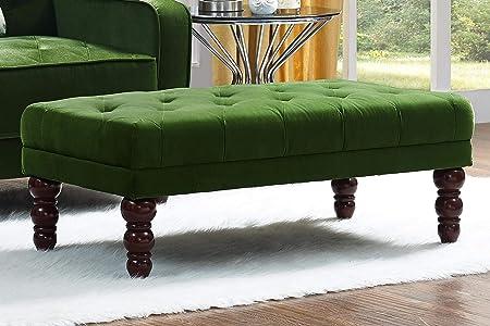 Novogratz Vintage Tufted Ottoman, Green