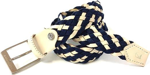 Uomo Donna Sergio Tacchini Cintura Elastica Intrecciata Scatola Regalo Beige e Blu 115 Con Inserti in Vera Pelle
