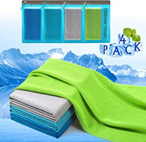 """Plazenzon Cooling Towels for Neck Wrap[4 Pack], Cool Towel Towel for Workout Sports Gym Athlete Hot Weather, Ice Cold Snap Towel for Men Women and Dogs[47""""x12""""]"""