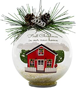 First Christmas in Our New Home Dated 2020 Charm - LED Lighted Glass Ball Ornament with Glittery Snow, Pinecones and Holiday Greenery - Holiday House Design New Homeowners Newlyweds Neighbors Family