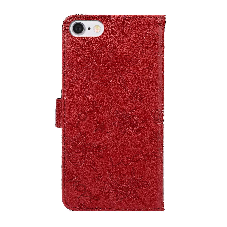 Rojo Ulife Mall Funda para iPhone 11 Pro MAX Carcasa de Libro en Cuero con Tapa y Cartera Caja de Tel/éfono Magn/ético Billetera Dibujos Patr/ón de Abeja TPU Silicona Antigolpes Flip Cubierta para Ni/ña