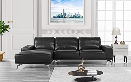 Amazon.com: Divano Roma Furniture - Modern Real Leather Sectional ...