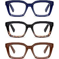 3 Pack Oversize Square Design Reading Glasses for Women, Blue Light Blocking Reader Eyeglass