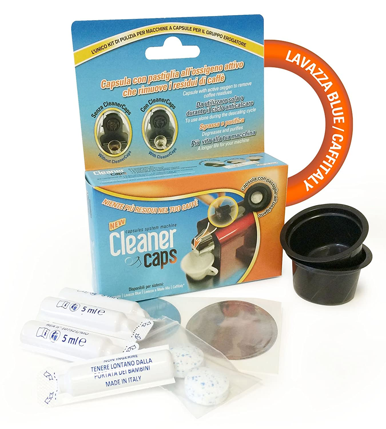 Complete Cleaning Kit Machinery Caffitaly Group Nozzle + Descaler CLEANERCAPS