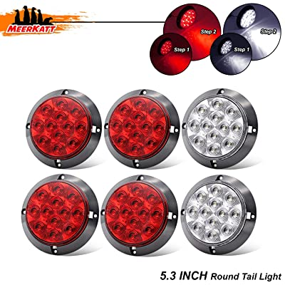 Meerkatt (Pack of 6) 4 Inch 4 Red & 2 White LED Clearance Lamp Round Utility Light Brake Reverse Rear Tail Exterior Lamp Trailer Lorry Caravan Truck Bus Tractor Cabin 12V DC Sealed Surface Mount GK12: Automotive