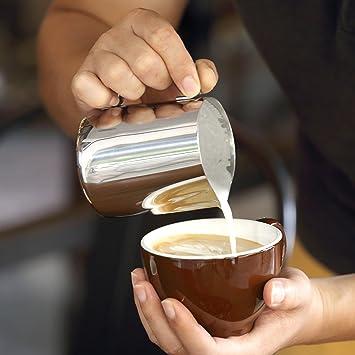 Mari Chef - 350 ml acero inoxidable jarra de leche para hacer espuma de leche, taza de medir con marcas de interior: Amazon.es: Hogar