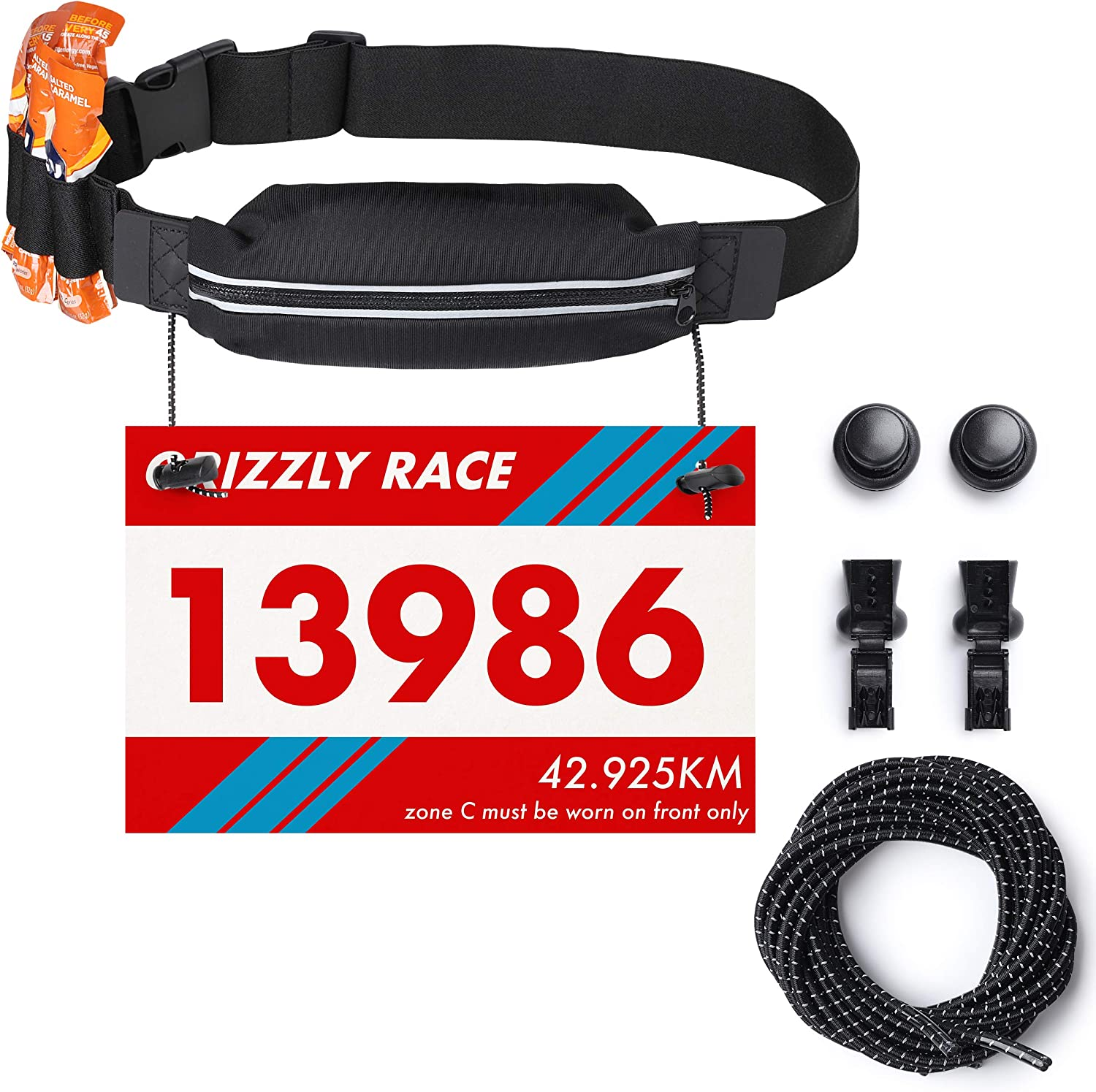 Running Race Number Bib Belt With Elastic Webbing – Fits All Size For Marathon, Triathlon and Cycling – Elastic No Tie Shoe Laces Included Black Belt Black Laces