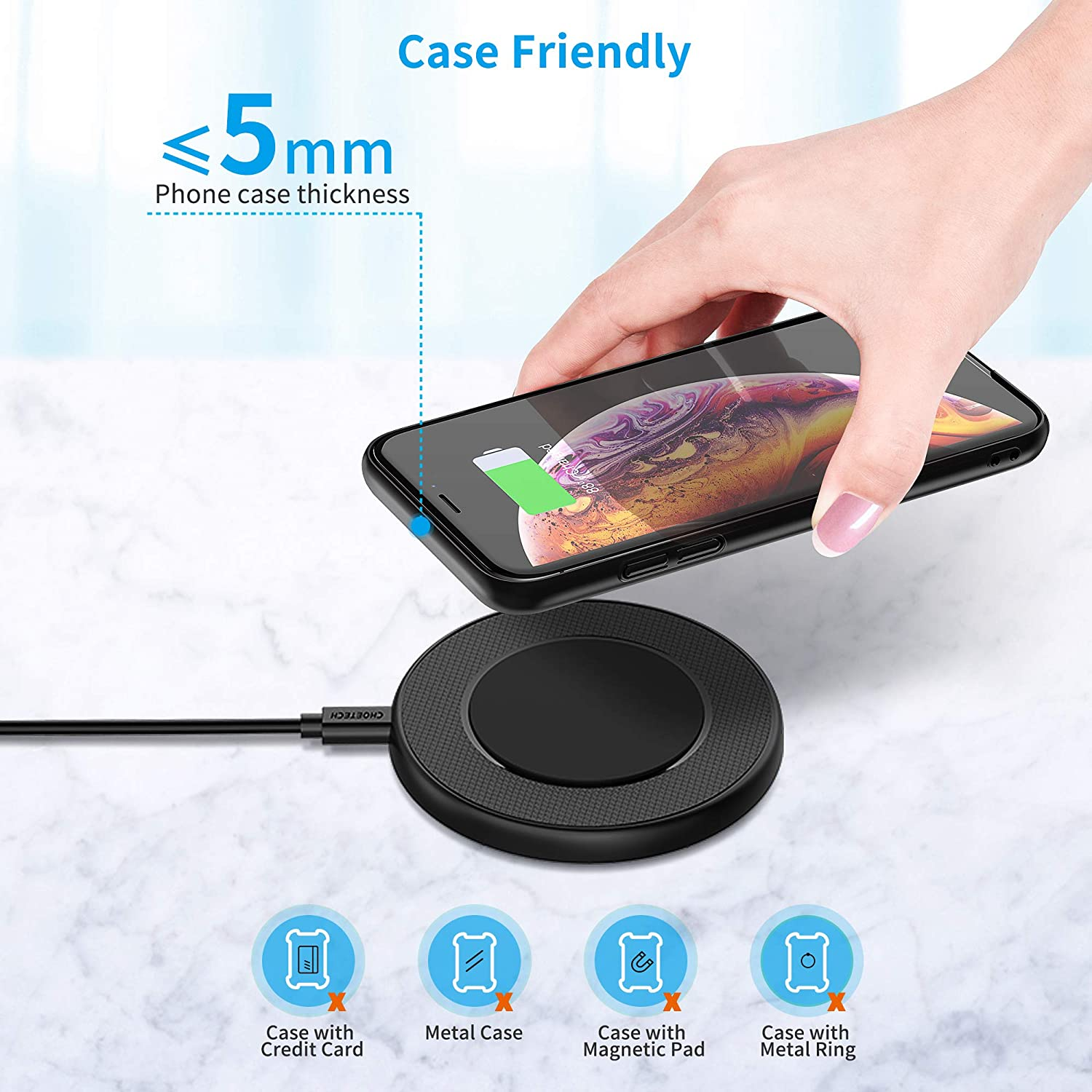 AirPods Pro Galaxy Note 10//Note 10+ //S20 //S20+ //S10 CHOETECH Wireless Charger Pad No AC Adapter Qi-Certified 10W Max Fast Wireless Charger Compatible with iPhone 11//11 Pro//11 Pro Max//Xs Max//XR//X//8