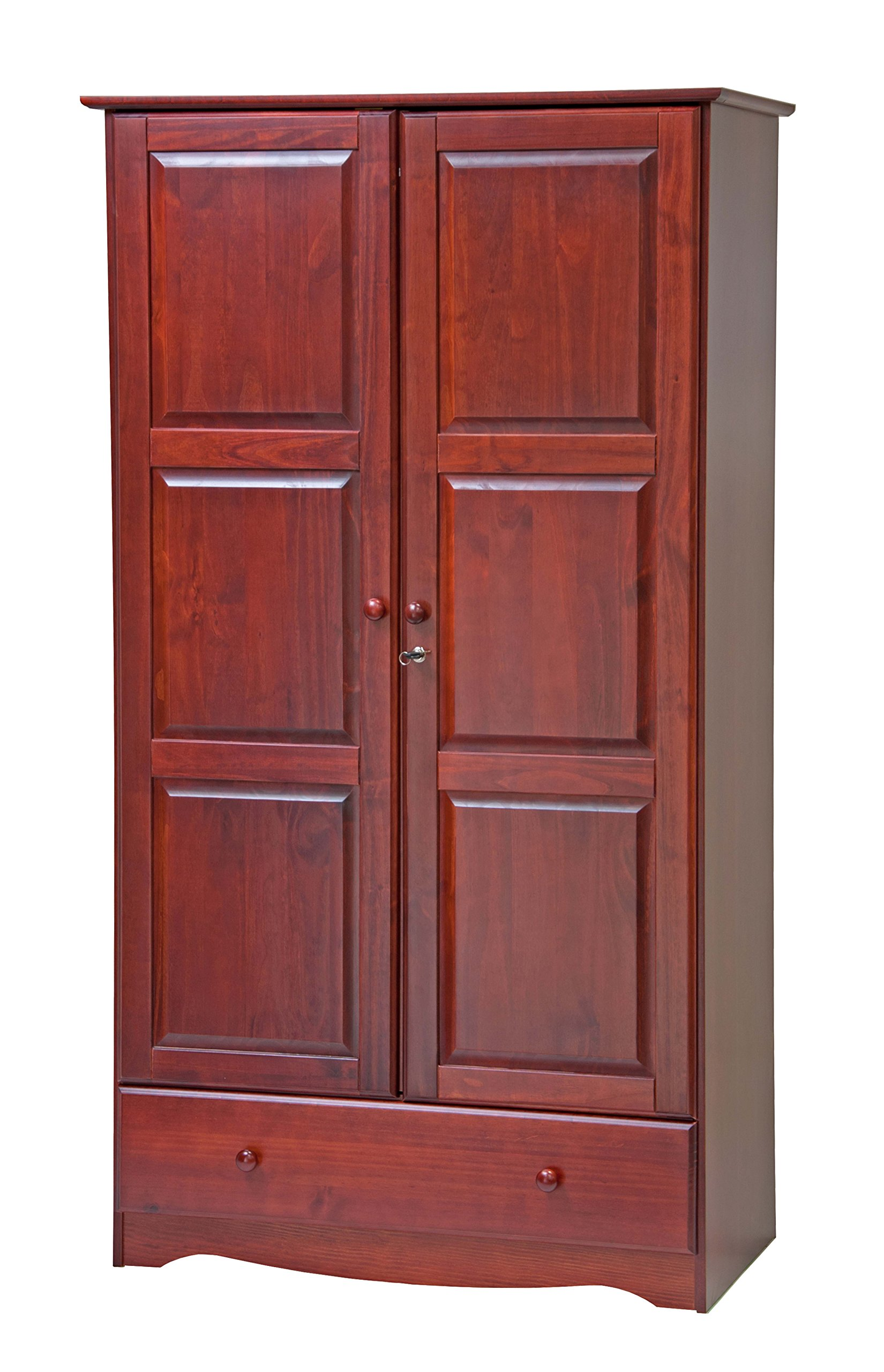 100% Solid Wood Universal Wardrobe/Armoire/Closet by Palace Imports, Mahogany Color, 40''W x 72''H x 21''D, 2 Clothing Rods, 2 Shelves, 1 Lock, 1 Drawer Included. Additional Shelves Sold in Packs of 2.