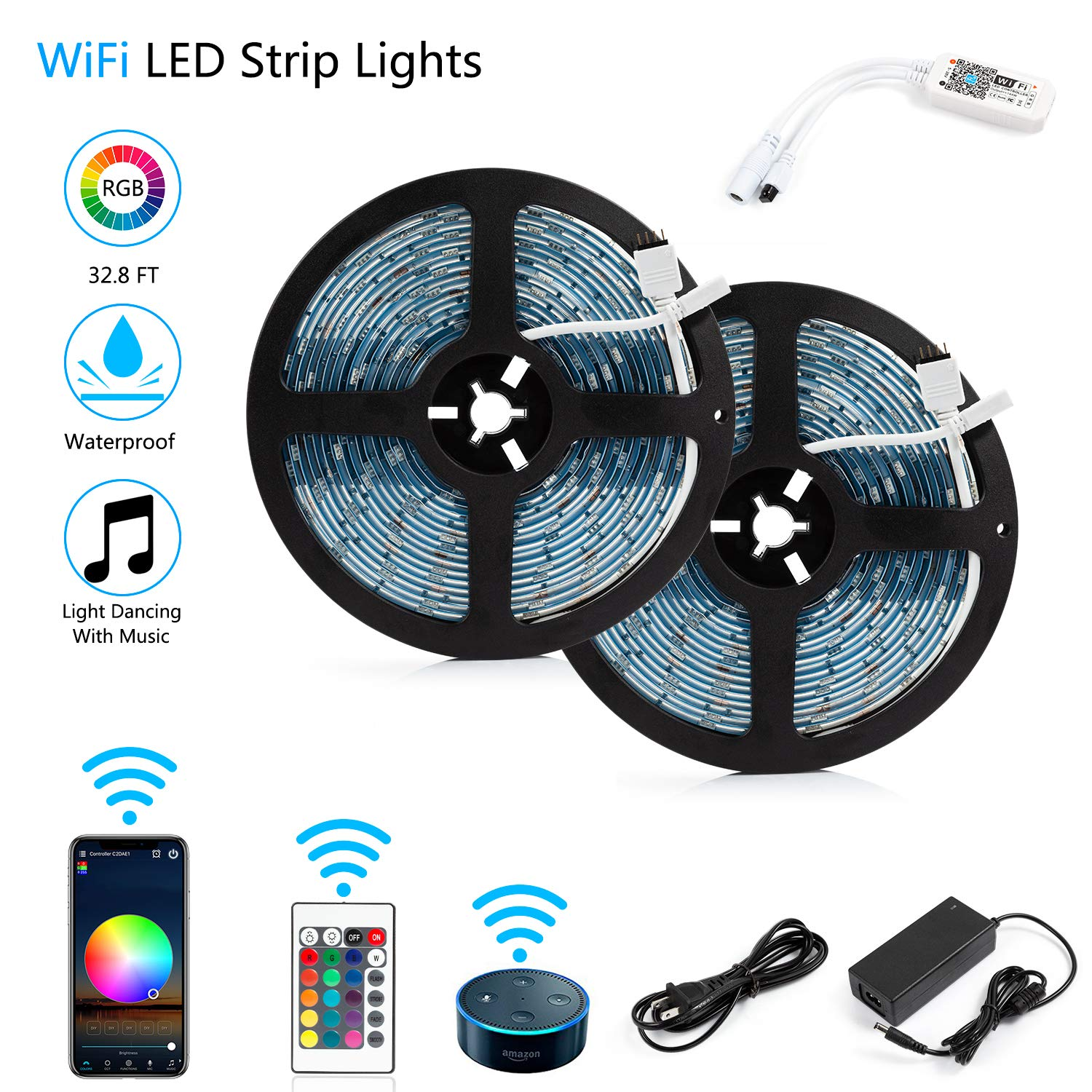 LED Strip Lights, WiFi Wireless Smartphone Controlled Waterproof RGB Rope Lights Flexible 5050 Light Strip 32.8ft 300LEDs 24key IR Remote Controller DC12V UL Power Adapter Work with Android iOS Alexa