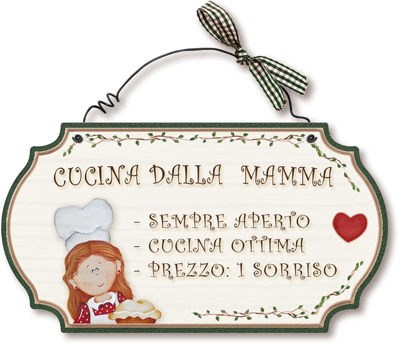 Dekori di Aracne Italy Targhette Country in Legno da Appendere Cucina della Mamma
