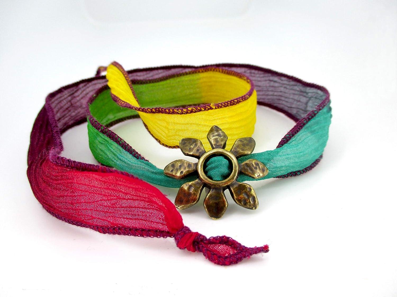 Pulsera de mujer seda auténtica, diferentes colores, rojo,verde,azul, amarillo, morado, sirve como collar.: Amazon ...