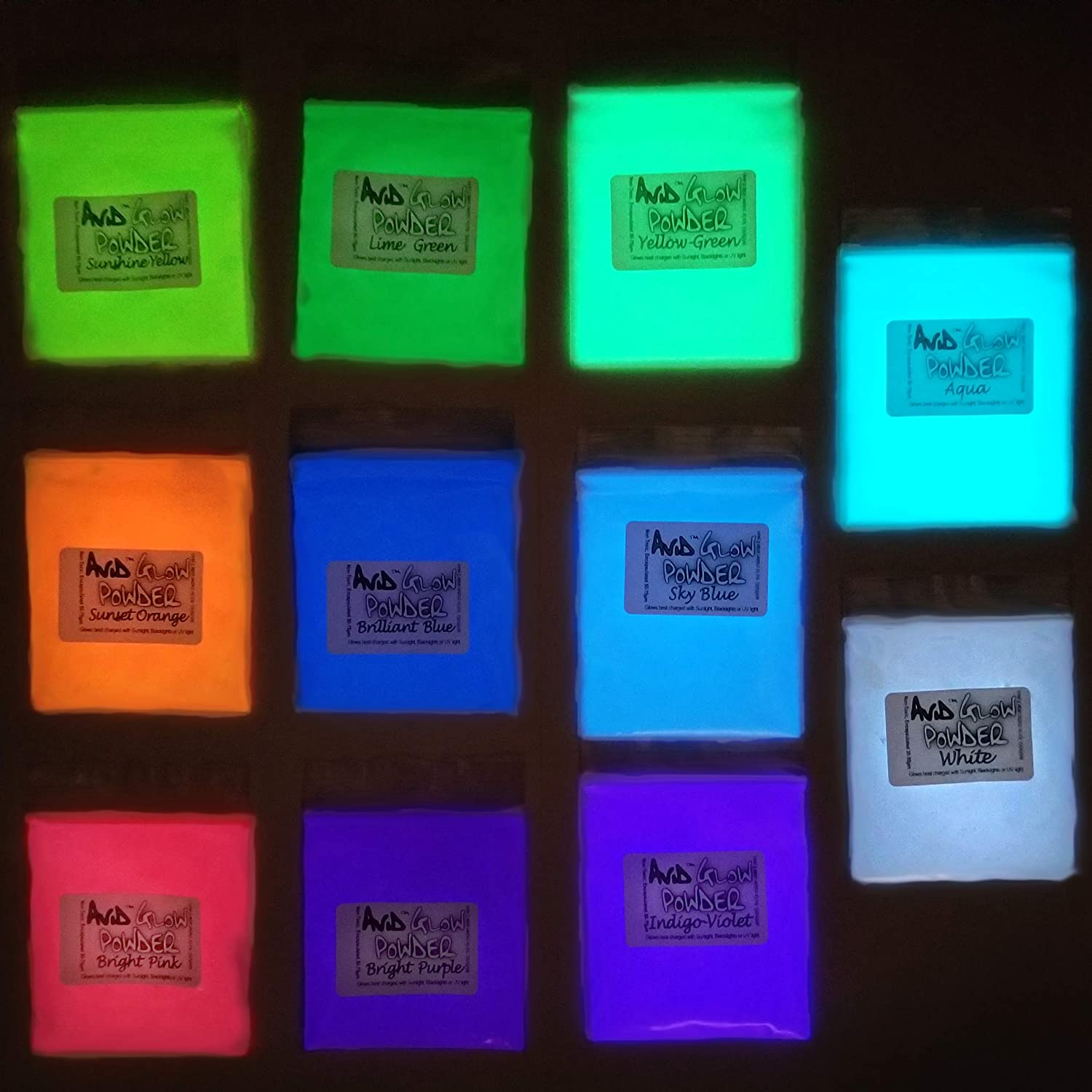 Glow Powder Variety Pack 11 Colors- 6 Fluorescent/5 Neutral in Daylight- 5.8oz/165g Total for Resin, Slime, Nail Polish, Paint Glow in The Dark Pigment Powder Strontium Aluminate
