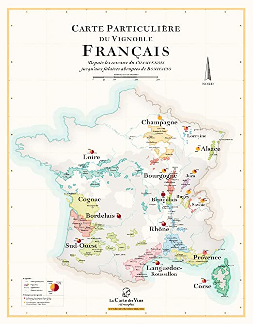 carte des vignobles de france Wine Map of France: Amazon.co.uk: Kitchen & Home