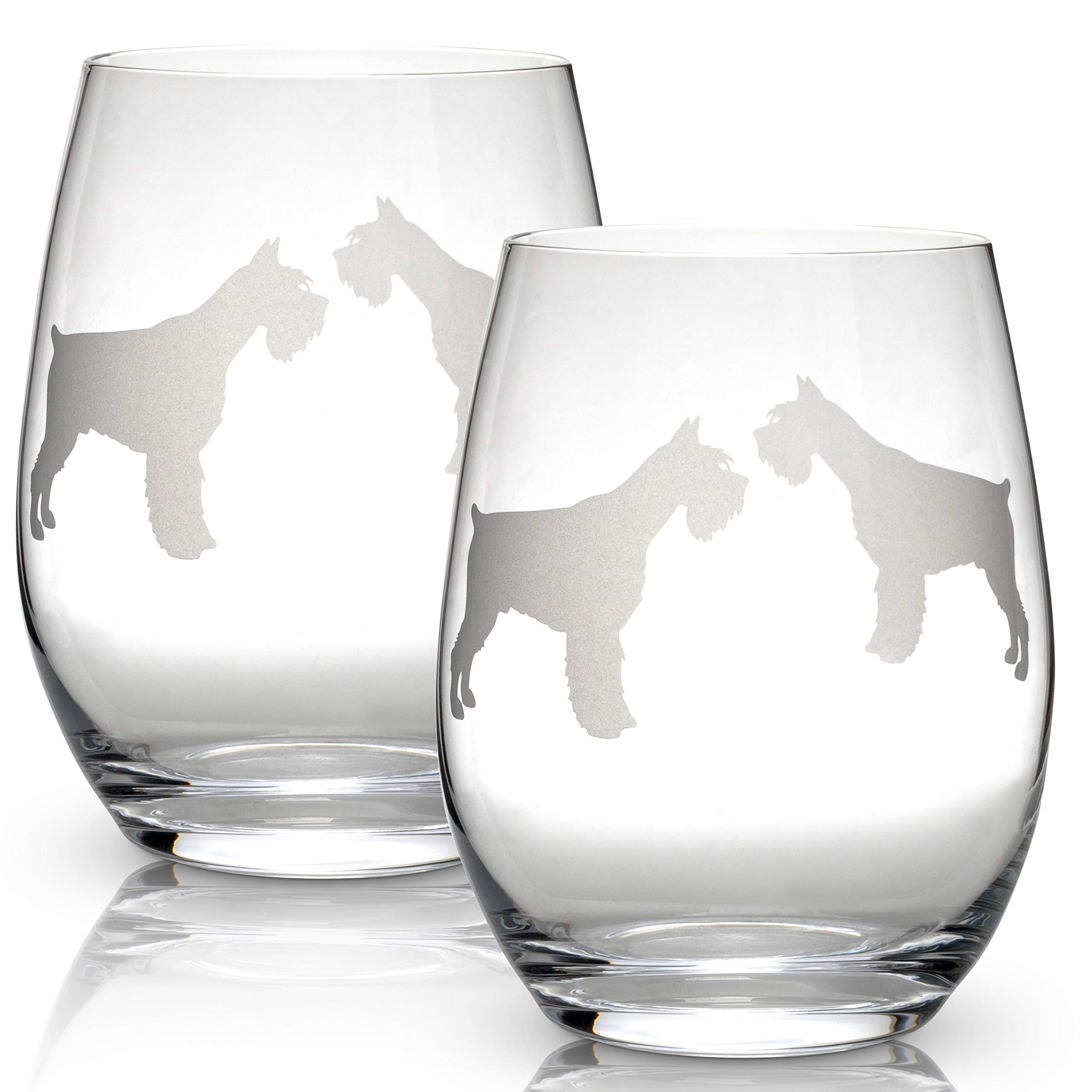 1dd5714b44e Dog Breed Stemless Wine Glasses (Set of 2) | Dog Lovers Gifts for Him and  Her | Hand Etched 2-Sided Silhouette with Breed Name on the Bottom
