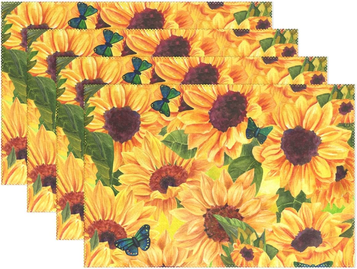 Amazon Com Wozo Butterfly Sunflower Print Placemat Table Mat Oil Painting 12 X 18 Polyester Table Place Mat For Kitchen Dining Room 1 Piece Home Kitchen