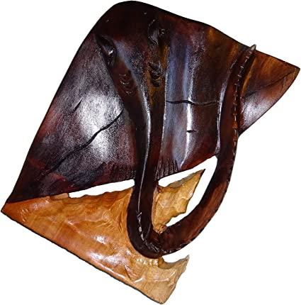 Stingray Wood Sculpture Hand Carved Wall Hanging Home Decor Nautical Statue