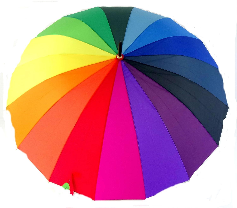 Regenschirm XXL Damenregenschirm Stockschirm Sehr Starker Winddichter Schirm, Regenbogen 120 cm (Modell 1)