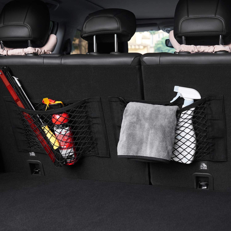 Velcro Car Storage Net Groceries Bottles 2 Pack Storage Add On Organizers for Car Truck DiMiK Trunk Multi Storage Net,