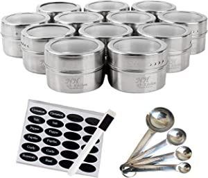 NH-Kitchen Stainless Steel Magnetic Spice Tins: 12-Piece Round Set with Shaker Lids for Herbs & Seasonings + BONUS 4 Measuring Spoons, 24 Labels & Pen
