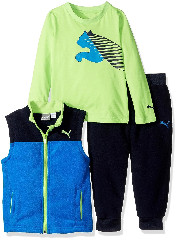 b354e5f9bad1 PUMA Baby Boys' 3 Piece Micro Fleece Vest, Tee, and Jogger Pant ...